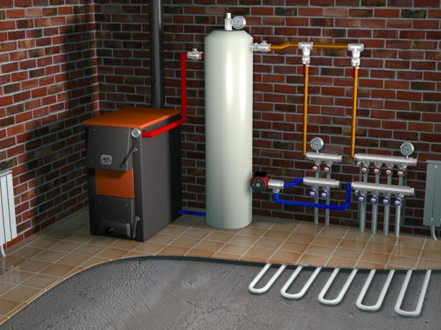 Montazh stacionarnogo gazovogo kotla