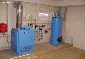 установленный напольный газовый котел будерус